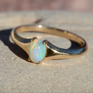 Jewelry - Solid Yellow Gold 14KT 14k Ring Opal Genuine 6.5